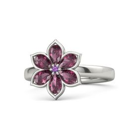 Round Amethyst Palladium Ring with Rhodolite Garnet
