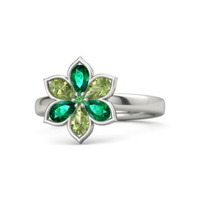 Round Emerald Palladium Ring with Emerald and Peridot