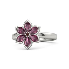 Round Red Garnet Palladium Ring with Rhodolite Garnet