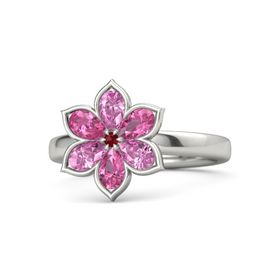 Round Ruby Palladium Ring with Pink Sapphire and Pink Tourmaline