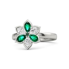 Round Alexandrite Palladium Ring with Emerald and White Sapphire
