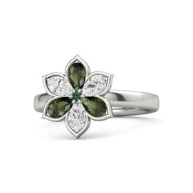 Round Alexandrite Palladium Ring with Green Tourmaline and White Sapphire