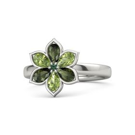 Round Alexandrite Palladium Ring with Green Tourmaline & Peridot