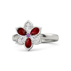 Round Amethyst Platinum Ring with White Sapphire and Ruby