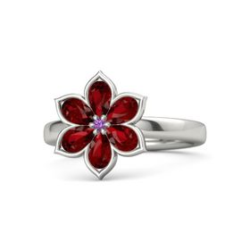 Round Amethyst Platinum Ring with Ruby