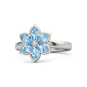 Round Diamond Platinum Ring with Blue Topaz