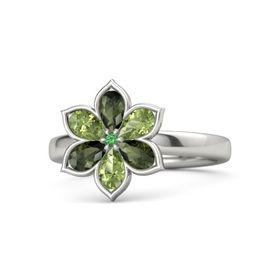 Round Emerald Platinum Ring with Green Tourmaline and Peridot