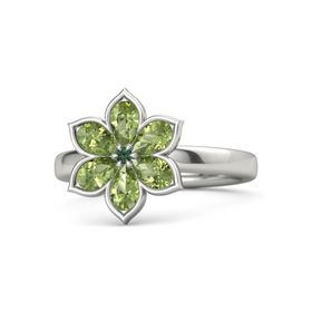 Round Alexandrite Platinum Ring with Peridot