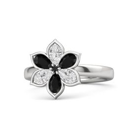 Round Black Diamond Sterling Silver Ring with White Sapphire and Black Onyx