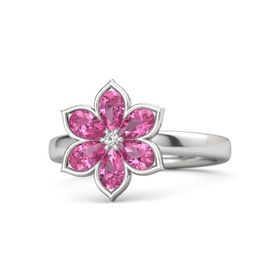 Round White Sapphire Sterling Silver Ring with Pink Tourmaline