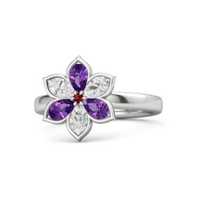 Round Ruby Sterling Silver Ring with Amethyst and White Sapphire