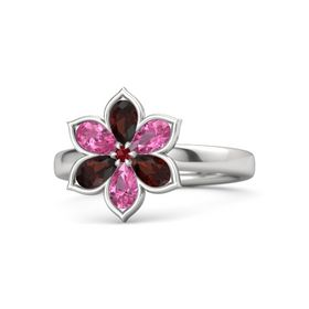 Round Ruby Sterling Silver Ring with Red Garnet and Pink Tourmaline