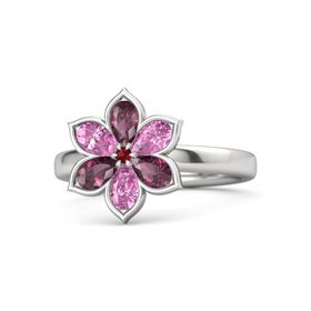 Round Ruby Sterling Silver Ring with Rhodolite Garnet and Pink Sapphire