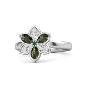 Round Alexandrite Sterling Silver Ring with White Sapphire & Green Tourmaline