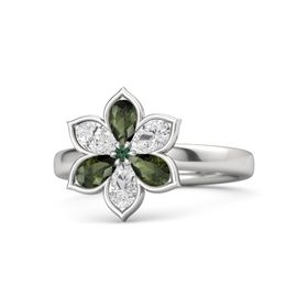 Round Alexandrite Sterling Silver Ring with Green Tourmaline and White Sapphire