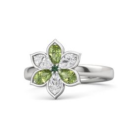 Round Alexandrite Sterling Silver Ring with Peridot & White Sapphire