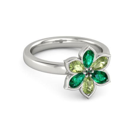 alexandrite platinum ring with emerald and peridot