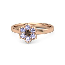 Round Smoky Quartz 14K Rose Gold Ring with Tanzanite