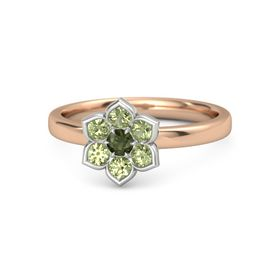 Round Green Tourmaline 14K Rose Gold Ring with Peridot