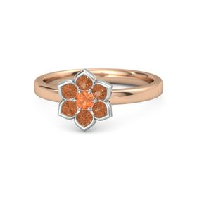 Round Fire Opal 14K Rose Gold Ring with Fire Opal