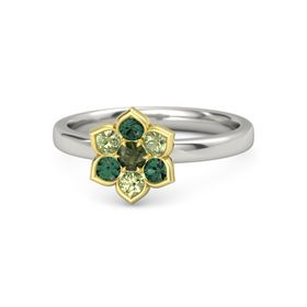 Round Green Tourmaline 14K White Gold Ring with Peridot and Alexandrite