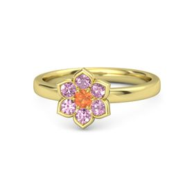Round Fire Opal 14K Yellow Gold Ring with Pink Sapphire & Pink Tourmaline