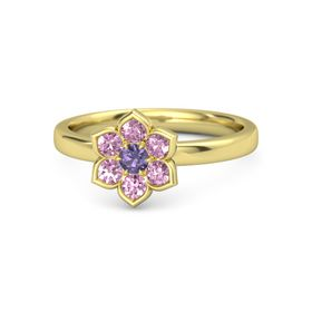 Round Iolite 14K Yellow Gold Ring with Pink Sapphire