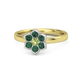 Round Peridot 14K Yellow Gold Ring with Alexandrite