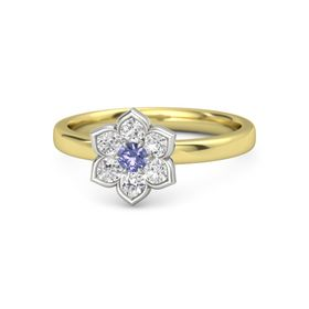Round Tanzanite 14K Yellow Gold Ring with White Sapphire