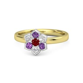 Round Ruby 14K Yellow Gold Ring with White Sapphire and Amethyst