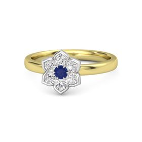 Round Blue Sapphire 14K Yellow Gold Ring with White Sapphire