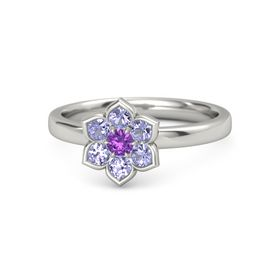 Round Amethyst 18K White Gold Ring with Tanzanite