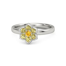 Round Citrine 18K White Gold Ring with Yellow Sapphire