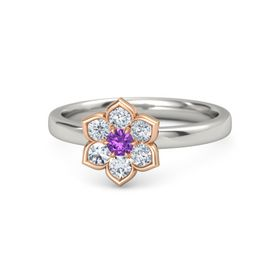 Round Amethyst Palladium Ring with Diamond