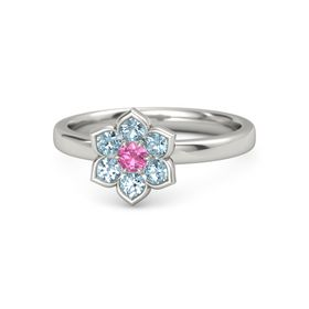 Round Pink Tourmaline Palladium Ring with Aquamarine