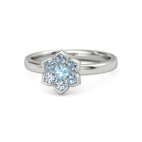 Round Blue Topaz Platinum Ring with Blue Topaz