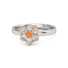 Round Fire Opal Sterling Silver Ring with Diamond
