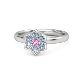 Round Pink Sapphire Sterling Silver Ring with Blue Topaz