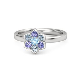 Round Blue Topaz Sterling Silver Ring with Blue Topaz & Iolite