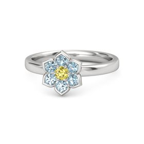 Round Yellow Sapphire Sterling Silver Ring with Aquamarine