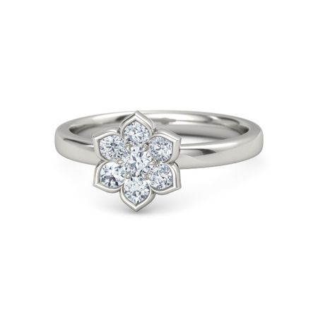 Round diamond palladium ring with diamond modern flower ring gemvara modern flower ring mightylinksfo