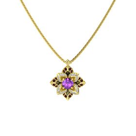 Round Amethyst 14K Yellow Gold Pendant with Diamond and Red Garnet