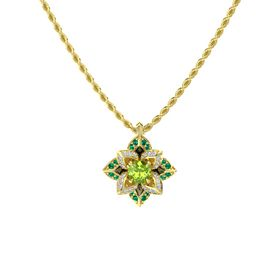 Round Peridot 14K Yellow Gold Pendant with Diamond and Emerald