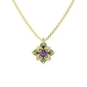 Round Iolite 14K Yellow Gold Pendant with Diamond and London Blue Topaz
