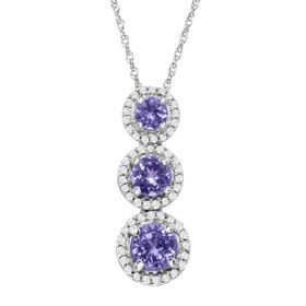 7/8 ct Tanzanite & 1/6 ct Diamond Graduated Drop Pendant
