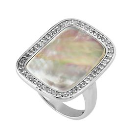 Square Mother of Pearl & White Topaz Ring