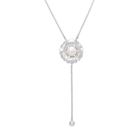 Pearl Flower Lariat Necklace