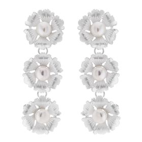 Three Flower Pearl Drop Earrings