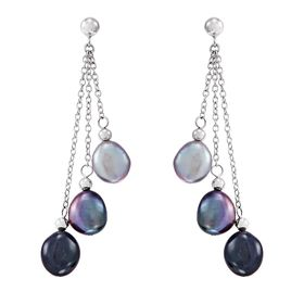 8-9 mm Tuxedo Baroque Pearl Chain Earrings