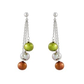 8-9 mm Dark Multicolor Ringed Pearl Chain Earrings